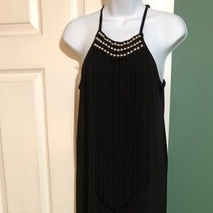NWT Michael Kors Black fringed front maxi dress